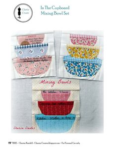 In The Cupboard  Mixing Bowl Set Paper Pieced by ChariseCreates, $3.50