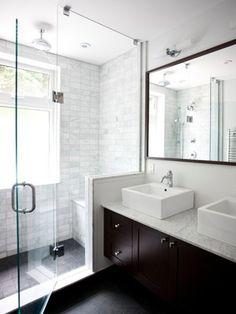 How-To DIY Article | 11 Simple DIY Ways To Make Your Small Bathroom Look BIGGER | Image Source:  Granite Guru s | CLICK TO ENJOY... http://carlaaston.com/designed/11-easy-ways-to-make-a-small-bathroom-look-bigger (KWs: mirror, cabinet, closet, lighting)