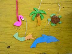 Christmas Ornaments Handmade, Flamingo, Mermaid, Palm Tree, Dolphin, Sea Turtle. $25.00, via Etsy.