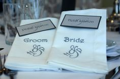 Monogrammed wedding napkins and matching place cards. Extra Special Touch // Everything about our company from our studio to our product Personalized Napkins, Personalized Wedding, Different Wedding Ideas, Wedding Embroidery, Wedding Napkins, Wedding Lingerie, Monogram Wedding, Wedding Themes, Luxury Wedding