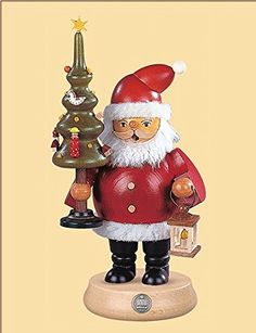 Muller Collectible German Santa Claus with Tree Smoking Man Wooden Christmas…