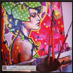 Painting by Amylee (Paris)  www.amylee-paris.com #portrait #art #colors #artwork
