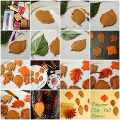 DIY Polymer Clay Fall Leaf Pendent  - #art, #diy, craft