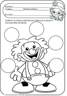 Atividades tema circo com vogais Circus Activities, Alphabet Activities, Color Activities, Preschool Activities, Line Tracing Worksheets, Preschool Worksheets, Clown Party, Preschool Coloring Pages, School Clipart