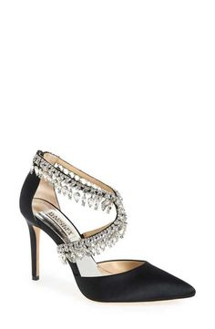 Badgley Mischka 'Glamorous' Crystal-Embellished Pointy Toe Pump (Women)