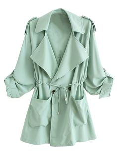 Light Green Lapel Waisted  Double Breasted Trench Coat