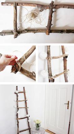 Decoration ladder DIY Tutorial diy home decor wood Dekoleiter Selber Bauen Diy Ladder, Ladder Decor, Ladder Storage, Wood Ladder, Upcycled Home Decor, Diy Home Decor, Home Crafts, Diy And Crafts, Nature Crafts