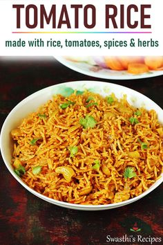 Tomato Rice recipe Indian tomato rice is a super quick Indian recipe made with rice, tomatoes, spices and herbs. Instructions included for stove top & instant pot Vegetarian Recipes Videos, Beef Recipes, Cooking Recipes, Healthy Recipes, Quick Rice Recipes, Zoodle Recipes, Paneer Recipes, Comida India, Tomato Rice
