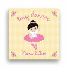"Tiny Dancer 12"" x 12"" Personalized Canvas---Black Hair - Room Decor - Kids…"