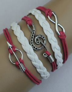 Infinity, Music Note, Arrow – Dark Pink/White $15.00  Fashion Jewelry at Modest Prices - www.gomodestly.com