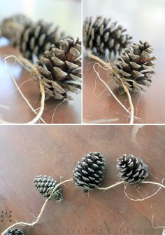 DIY pine cone garland.  We saw one like this at Michael's for $15. We figured we'd make it ourselves with free gathered pinecones and twine. The one we saw for sale also had bits of pine and faux red berries.