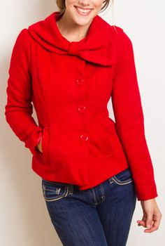 Accidentally in Love Bow Collared Coat in Passionate Red | Sincerely Sweet Boutique