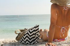 Beach Tote - Chevron - Pretty Functional Bag for a Day a the Beach - More Colors Available. $50.00, via Etsy.