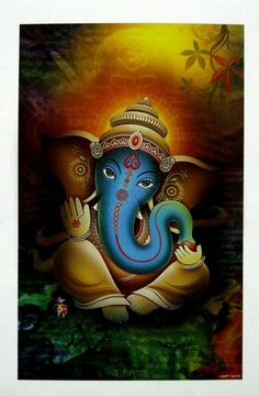 Make this Ganesha Chathurthi 2020 special with rituals and ceremonies. Lord Ganesha is a powerful god that removes Hurdles, grants Wealth, Knowledge & Wisdom. Ganesha Drawing, Lord Ganesha Paintings, Ganesha Art, Ganesh Lord, Sri Ganesh, Shiva Art, Hindu Art, Namaste, Ganesh Images