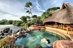 wild waters lodge in uganda Uganda, Rwanda Travel, Cool Places To Visit, Places To Go, African Vacation, Hotel Swimming Pool, Wild Waters, Road Trip, Honeymoon Places