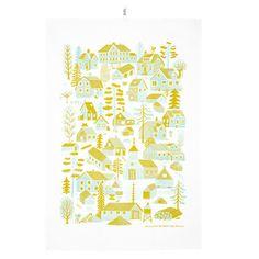 Kauniste's Mökkilä tea towel, yellow