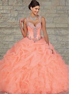 2015 Cheap Coral quinceanera dress, ball gown quinceanera dress,