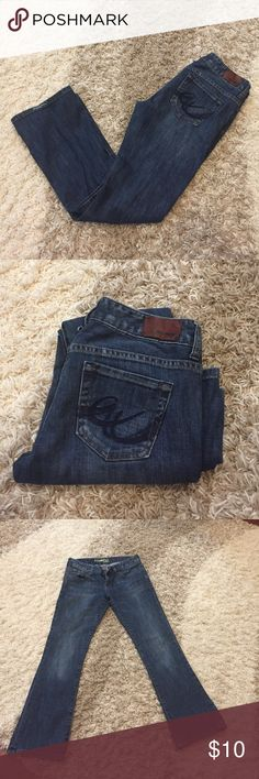 Express Stella Boot Jeans 2S Express Stella boot jeans size 2 Short. Style is dark blue with some minor distressing and fading on the knees. Very good condition. Express Jeans Boot Cut