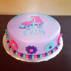 Roller skate & flower cake #rollerskatecake #birthdaycake
