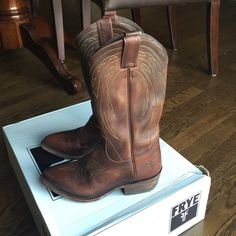 Frye Billy Pull On Dark Brown Excellent condition.  Worn once.. Maybe twice.  Like new condition. Still has new leather smell.  Original box included.  Is a bit smooshed and is torn.  Smoke free/pet free home. Frye Shoes