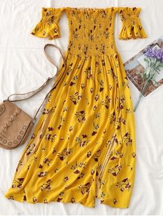 This midi beautiful dress with a tiny floral printed throughout features a smocked bodice, sleeves with flouncy detail and an exposed shoulder detail with side vents, which suits for the casual, going out, beach and summer occasion. #golddress #summerdresses #maxidressessummer#zaful Beach Dresses, Midi Dresses, Fashion Stylist, Yellow Midi Dress, Yellow Summer Dresses, Yellow Dress Casual, Casual Dresses, Cute Dresses, Beautiful Dresses