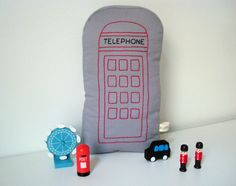 London Telephone Booth - Shaped pillow - Soft Toy - British Decor