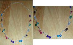 """Pretty Hand Crocheted Multi Color Bead Necklace 34"""" L"""