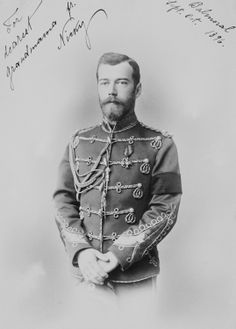 A portrait of Nicholas II sent to Queen Victoria: 1896. via TheMauveRoom.tumblr / > notice the inscription on the top left....'For dearest Grandmama  fr. Nicky'