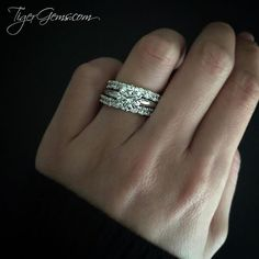 Thank you to my client for her photo! ✨ She is wearing the 2 carat 6 prong solitaire in 14k white gold with two 2 carat eternity bands. Follow @tigergemstones Shop now at ✨ TigerGems.com