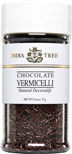 INDIA TREE NATURAL CHOCOLATE VERMICELLI (SMALL JAR) INDIA TREE's Natural Chocolate Vermicelli may be used to decorate candy, cakes, cookies and ice cream. It is also great with coffee. Sprinkle it over a cappuccino, a latte or an espresso topped with whipped cream. Or serve it in a glass bowl on a coffee condiment tray.