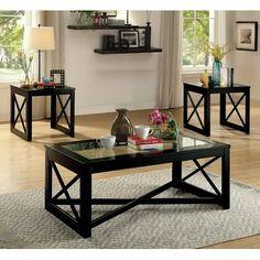 Red Barrel Studio Brannan Contemporary Coffee Table Couchtisch Mit  Glasplatte, Gespiegelte Couchtische, Schwarze Couchtische