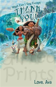 Thank You Card • Moana Theme • Free economy shipping • Fast turnaround time • Great customer service • These thank you cards are custom, high resolution digital files that are personalized for each customer upon order Moana Birthday Party, Moana Party, 2nd Birthday, Printable Thank You Cards, Free Thank You Cards, Mom 2017, Moana Theme, Birthday Thank You Cards, Themes Free