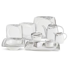 Set your table with grace and elegance when you use this bone china set. With 57 pieces, this offers service for eight and includes serving ware as well.