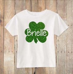 Toddler St Patricks Day Shirt With Glitter Four Leaf