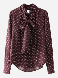 Long Sleeve Blouses. Top Decorated with Asymmetrical, Button, Tie Neck. Designed with Collar. Regular fit. Perfect choice for Elegant wear. Polka Dot design. Trend of Spring-2018, Fall-2018. Designed in Burgundy.