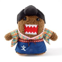 "As the official mascot of **NHK**, it comes as no surprise that **Domo** would dress up in a ***Hana Moyu*** (NHK's 2015 *taiga drama*) theme. **7.7"" tall**, **7.1"" wide** and **3.5"" thick**, this furry guy is sporting a colorful kimono and a neat *chonmage*. He might look scary, but he's actually screaming for a hug! #plushie"