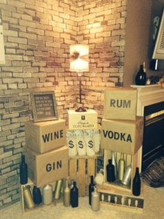 Use old wine crates and spray painted bottles to show that your speakeasy is well stocked! Hahaaa, this is a great idea for a gangster party photo booth! LOVE IT!