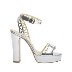 'Zoe' - Silver Calf Leather Laser Cut Platform Sandal. 130mm Heel. – Bionda Castana Online Store