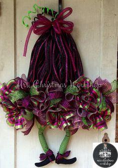 Halloween wreath deco mesh witch hat wreath