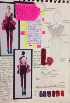 I like how there is actual paint on the page and it's a combination of pictures, writing and mini diagrams. Fashion Design Sketchbook, Fashion Design Portfolio, Fashion Sketches, A Level Textiles Sketchbook, Sketchbook Ideas, Fashion Collage, Fashion Art, Kids Fashion, Charles Peguy