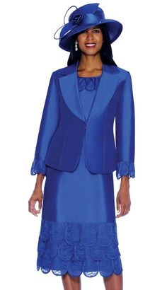 Royal blue suit with matching hat.
