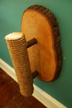 Handmade & Recycled Tree-Limb Wall-Mount Cat by HagendorfOriginals