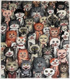 Franco Matticchio to present, Italian) - illustration - Cats Art And Illustration, Cat Illustrations, All About Cats, Cat Drawing, Crazy Cats, Cool Cats, Cat Art, Animals And Pets, Cats And Kittens