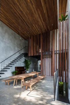 Thong House designed bu Nishizawaarchitects and is located in Vietnam - Architecture and Home Decor - Bedroom - Bathroom - Kitchen And Living Room Interior Design Decorating Ideas - Architecture Extension, Interior Architecture, Interior And Exterior, Room Interior, Architecture Panel, Drawing Architecture, Chinese Architecture, Architecture Portfolio, Futuristic Architecture