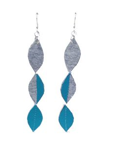 Turquoise Teardrop Handmade Textile Earrings  These beauties are made from scraps from our remnants when hand making our ethical fashion range in our Suffolk studio  The turquoise and grey offset each other perfectly and we LOVE not adding to landfill! Xxx
