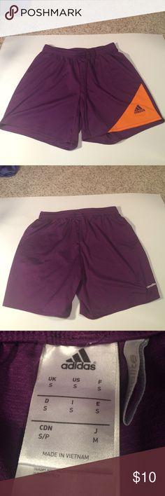 Adidas Soccer Shorts Purple and orange soccer shorts. Size small. Barely worn! Adidas Shorts