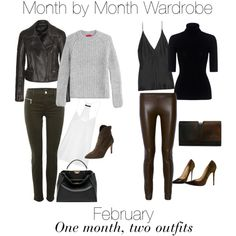 Month by Month Wardrobe - February by charlotte-mcfarlane on Polyvore featuring HUGO, Theory, TIBI, Tom Ford, J Brand, The Row, Juan Carlos Obando, Renvy, Jimmy Choo and Fendi
