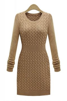 Chic and Cozy! Love this Knit Sweater Dress! Great Dress to layer with a Scarf! Round Neck Long Sleeve Cable Knit Bodycon Dress