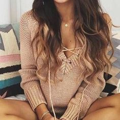 Dusty Pink Lace-Up Sweater Lovely closet essential, would fit a size small-medium best. Brand tagged for visibility. Free People Sweaters V-Necks