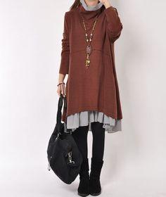 Coffee cotton dress layered dress Turtleneck by originalstyleshop